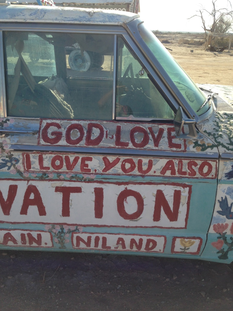 Leonard Knight's art decorates everything at Salvation Mountain.  He used window caulk to create raised designs.