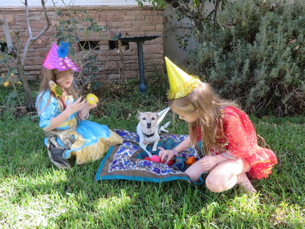 Dora manages to love us even though we make her do very undignified things, like dress up picnics on the front lawn where all the neighbors can see her shame.